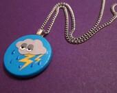 GRUMPY LITTLE RAINCLOUD papercut pendant with silver plated chain