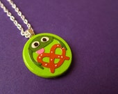 PRETZEL TOAD papercut pendant with silver plated chain