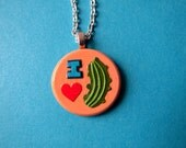 I LOVE PICKLES papercut pendant with silver plated chain