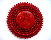 RESERVED Red Coral Brooch Beaded  Embroidered Round 2.7in
