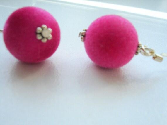 RESERVED Earrings Velvet  Balls Pink Sterling Silver Ear Hooks