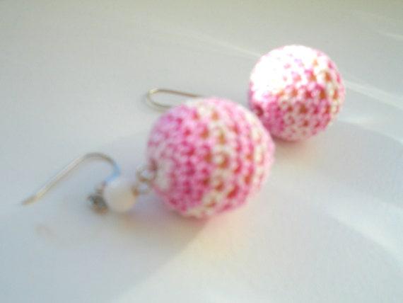RESERVED Earrings Crocheted Pink Pearl Shell Bead Sterling Silver Ear Hook