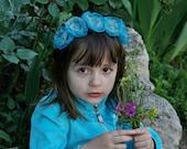 Turquoise,Cyan organza flowers Headband - Handmade
