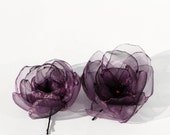 Set of 2 Dark Purple Rose Bobby Pins Swarovski Crystals