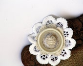Hair Clip,Broosh,Hat or Handbag clip Vintage lace White and Beige