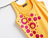 Neon Orange and Hot Pink Polka Dots Women Top Hand Painted size L