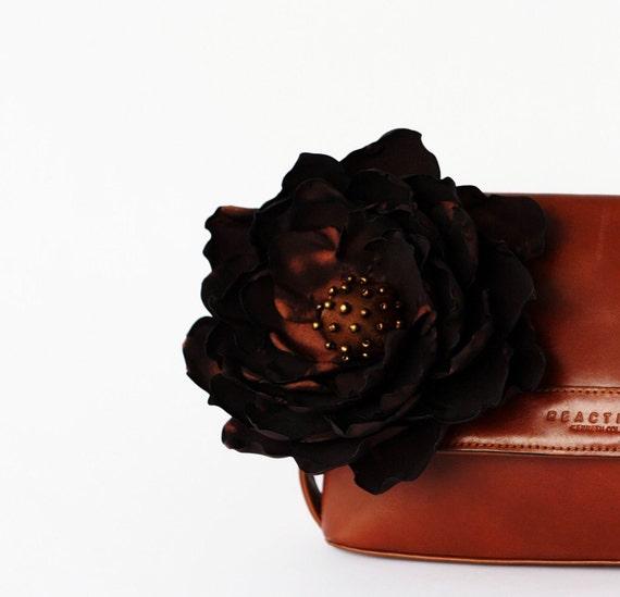 Brown Big Flower Broosh Hair Hat Handbag Clip Hand Made Taffeta