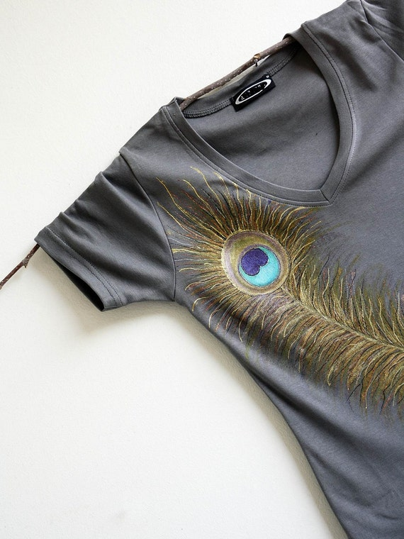 Hand Painted Greay Women Tshirt Peacock Feather Design SIZE M