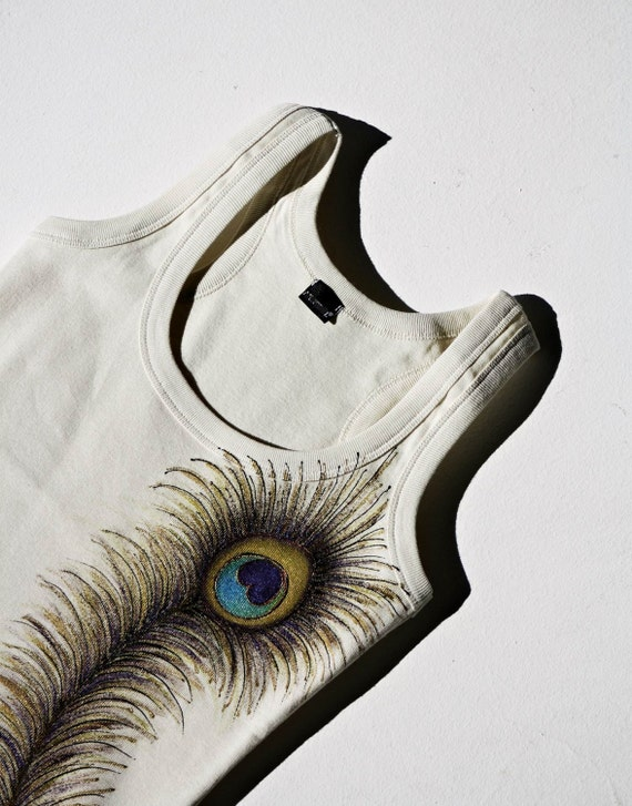 Hand Painted Cotton Beige Tank Peacock Feather SIZE M