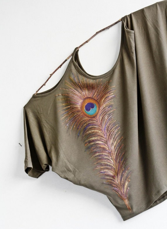 Hand Painted peacock design women free size S - L