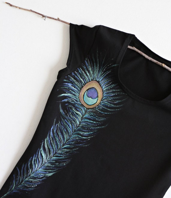 Hand painted Black Cotton Women Tshirt peacock Feather Design
