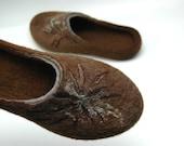 FELTED SLIPPERS Women home shoes Organic wool 100% wool Natural felt Brown wool Traditional felt High quality felt  Women shoes Clogs