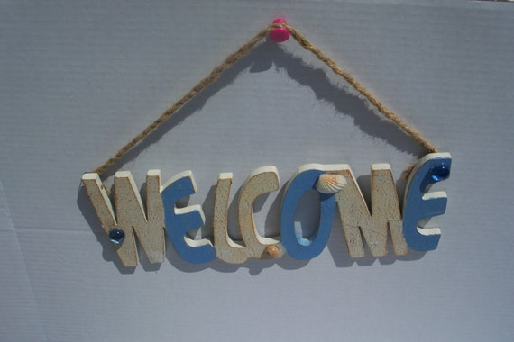 Upcycled Welcome Beachy Sign