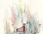 TGM On the Surface. 7 1/2 x 6. Original Watercolor. One of a kind. Signed.