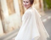 Hand-knit romantic shawl - White wedding wrap - Sheer clothing - 014 - GalaKardi