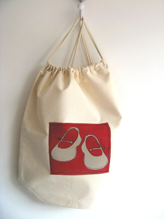 natural cotton drawstring duffel bag with little girl shoe print