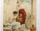 Antique PAUL THUMANN Art wins heart Kunst Bringt Gunst Hand colored painted print
