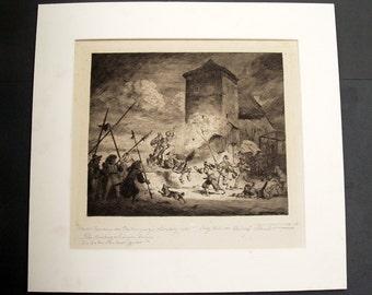 Vintage Engraving Radierung von Rudolf SCHACHT 1900 - 1974 / German Simplicissimus