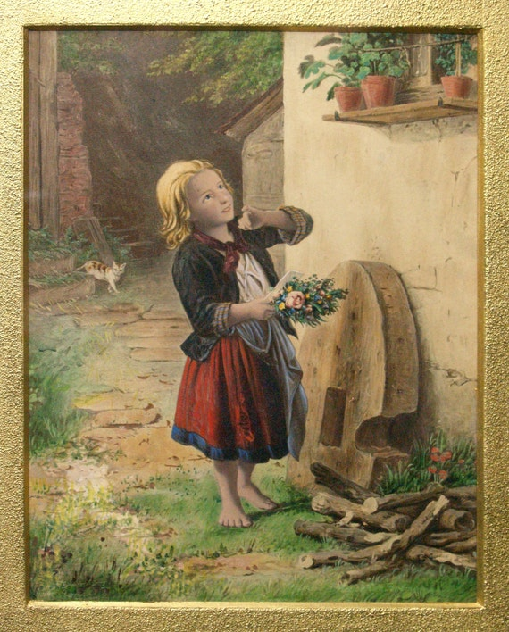 items similar to antique meyer von bremen mother 39 s birthday hand painted art print colored by c. Black Bedroom Furniture Sets. Home Design Ideas