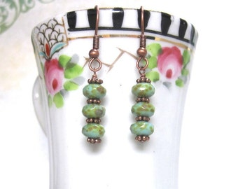 Earrings, Drop with Blue Sand Colored Czech Glass and Copper, Beaded, Turquoise Color