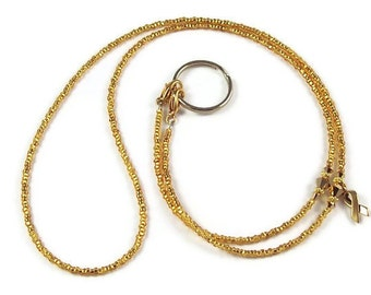 Beaded Lanyard, Cancer Awareness, Gold, ID Badge for work or Eyeglass Leash for play