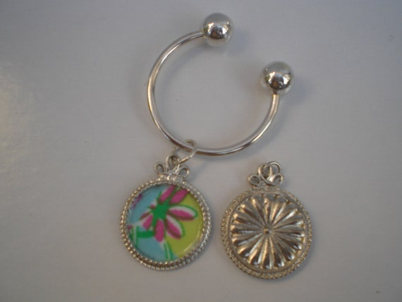 Lilly Pulitzer Fabric Silver Charm Curved Bar & Ball Key Ring