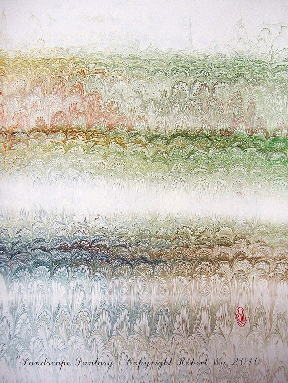 "Landscape Fantasy - Original Marbling Art, Marbled Paper, The Original ""Marbled Graphics""TM by Robert Wu"