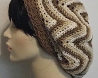 Starburst Ripple Crochet Tam Beret Dreadlock Hat