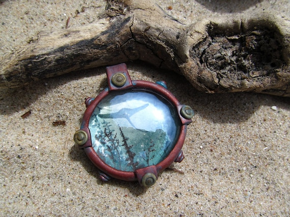Steampunk Underwater Watercolor Porthole Necklace