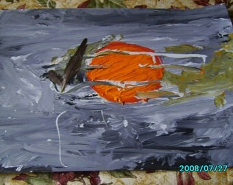 original painting   two feathers sunset
