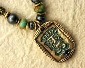 Tiki Necklace - Handcrafted Bronze Tiki Pendant with Black Sapphire on Beaded Chain - Good Luck Tiki God Lokahi