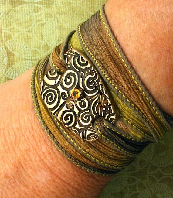 Silk Wrap Bracelet - Hand-dyed Silk Ribbon & Bronze Spiral Focal with Golden Citrine