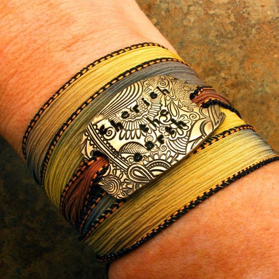 Silk Wrap Bracelet - Hand-dyed Silk Ribbon and Bronze Bracelet - Cherish the Earth