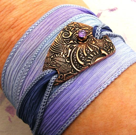 Silk Wrap Bracelet - Hand Dyed Lavender Silk Ribbon Bracelet with Ornamental Copper Focal and Tanzanite CZ