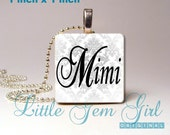 Mimi Necklace Charm Mimi Jewelry - Wood Tile Necklace Pendant Black and White Damask for Mothers Day - Grandma Mom Nana Mimi Jewelry