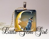 """Halloween Cat Jewelry Vintage Black Witch Cat on the Moon Pendant 1""""x1""""  (one inch square) Wood Tile Necklace Pendant"""