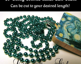 DARK EMERALD GREEN 24 inch Ball Chain Necklace 2.4mm size for Scrabble Tile & and 1 inch x 1 inch Necklace Tile Pendants