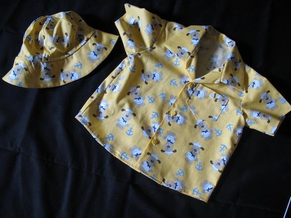 Little Boys Summer Shirt and Sailer Hat, Cute Dog Sailers and Anchor Print