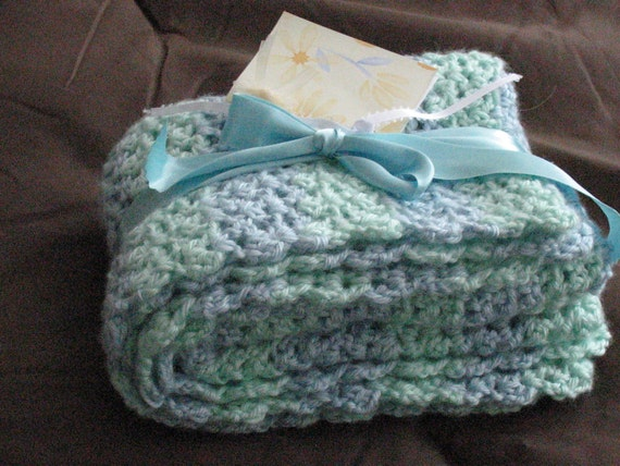 Soft Blues and Greens Make Up This Cutest and Softest Baby Afghan  Great Blanket For The Crib