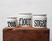 Set of 3 Ceramic Canister  - Tea Flour Sugar - by Spectrum