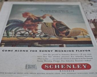 SALE - Vintage Rooster Print Vintage Schenley Whisky Rooster Ad 1947