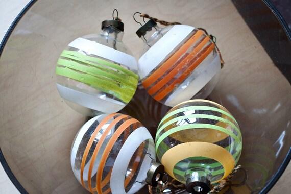 SALE - Set of 4 Orange Green Yellow Striped Christmas Ornaments