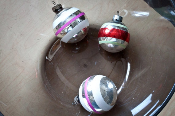SALE - Set of 3 Red Purple and White Christmas Ornaments