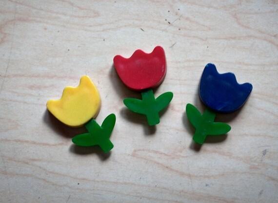 Set of 3 Selfix Flower Tulip Daisy Magnets Hong Kong