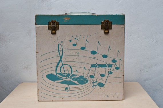 Blue and White Record LP Vinyl Case with Handle