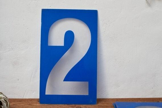 Large Number 2 - Blue Plastic Number 2 Sign Vintage Number Two Vintage Marquee Sign