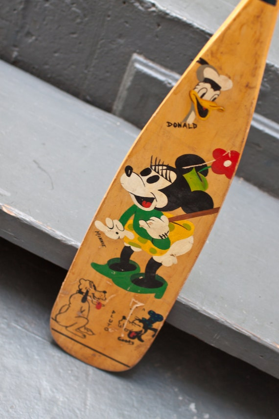 Vintage Hand Painted Minnie Mouse Boat Oar Paddle
