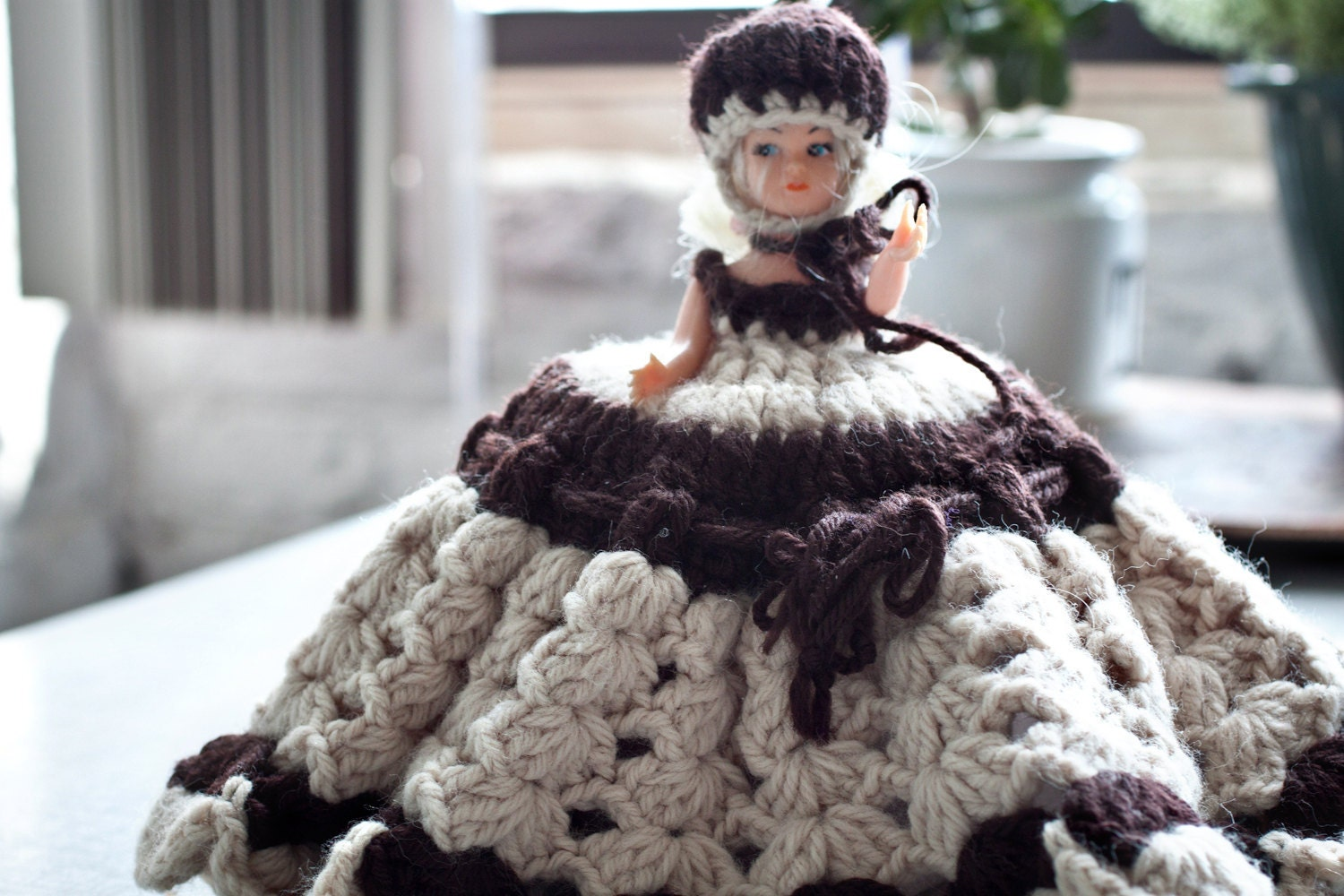 Sale Brown Toilet Paper Roll Cover Crochet Girl Lady