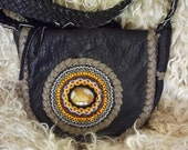 Beaded leather purse, purse is made from elk skin and has soft grey deerskin lacing, RARE cut beads