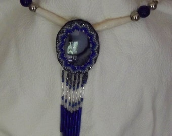 Beaded agate pendant with bone hairpipe necklace